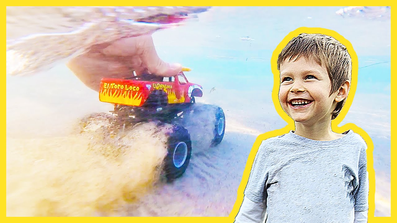 Underwater Monster Truck Arena At The Beach Youtube