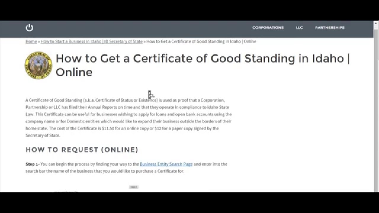 How To Get A Certificate Of Good Standing In Idaho Online Youtube