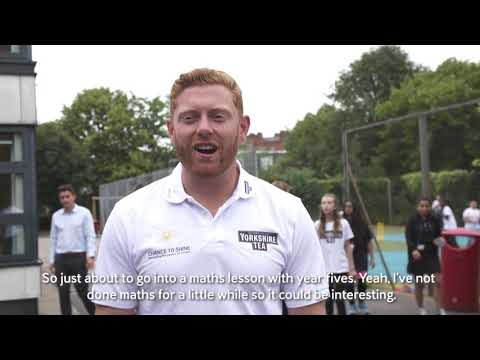 England's Jonny Bairstow teaches maths at Herbert Morrison School for Chance to Shine