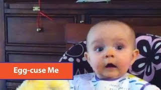 Baby Shocked At Toy Hen Laying Eggs