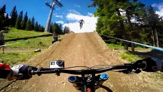 Claudio Caluori & Peaty Get Loose in Lenzerheide: GoPro View | UCI MTB World Cup 2016(Watch UCI MTB's Fastest Riders Compete on Red Bull TV: http://win.gs/UCI16SUI With the World Cup track in Lenzerheide right at their fingertips, Claudio ..., 2016-07-11T02:37:24.000Z)