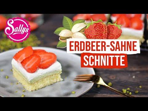 Erdbeer-Sahne Schnitten mit Pistaziencreme / Sallys Welt