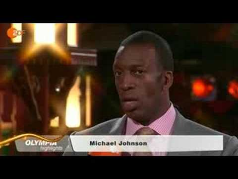 Michael Johnson being interviewed in beijing about doping on ZDF Television part1