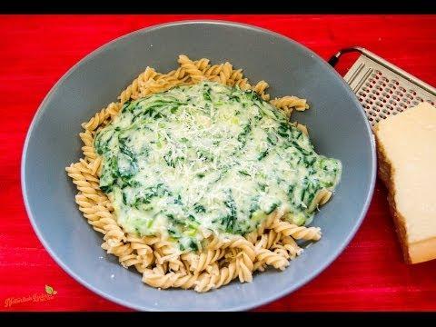 Nudeln mit Spinat und Parmesan- Rezept und Anleitung