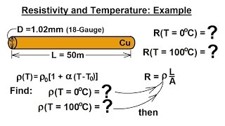 Physics - E&M: Resistivity and Resistance (18 of 33) R=? of a 50m Copper Wire at T=0C and 100C