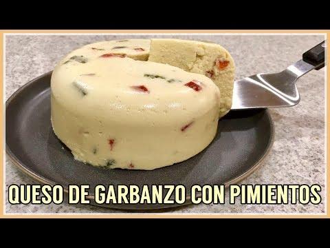 QUESO DE GARBANZO CON CHILE POBLANO Y PIMENTÓN ROJO | VEGAN CHICKPEA CHEESE