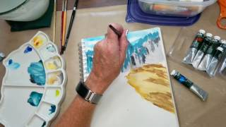 Gouache Landscape Painting In Real Time