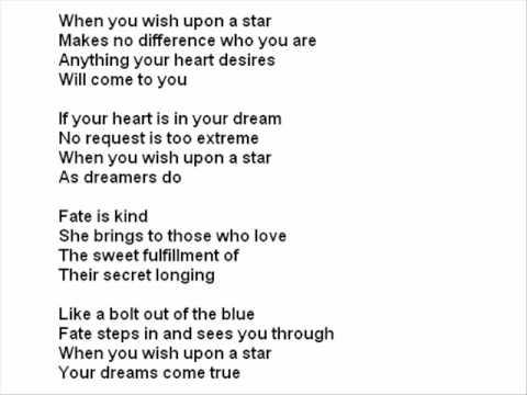 Disney - When You Wish Upon A Star Lyrics | MetroLyrics