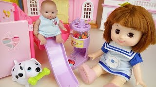Baby doll and pet house slide toys baby Doli play
