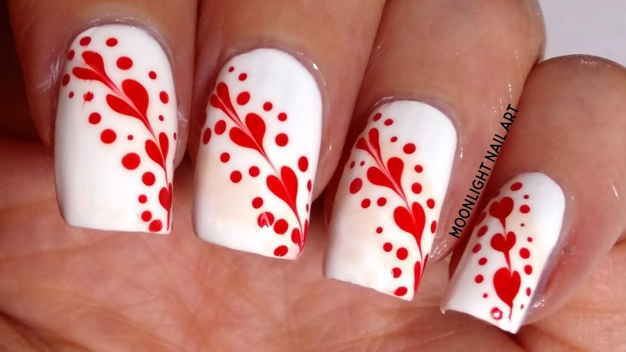 Red Hearts and Dots on White Nails – Drag Marble Nail Art Design Tutorial