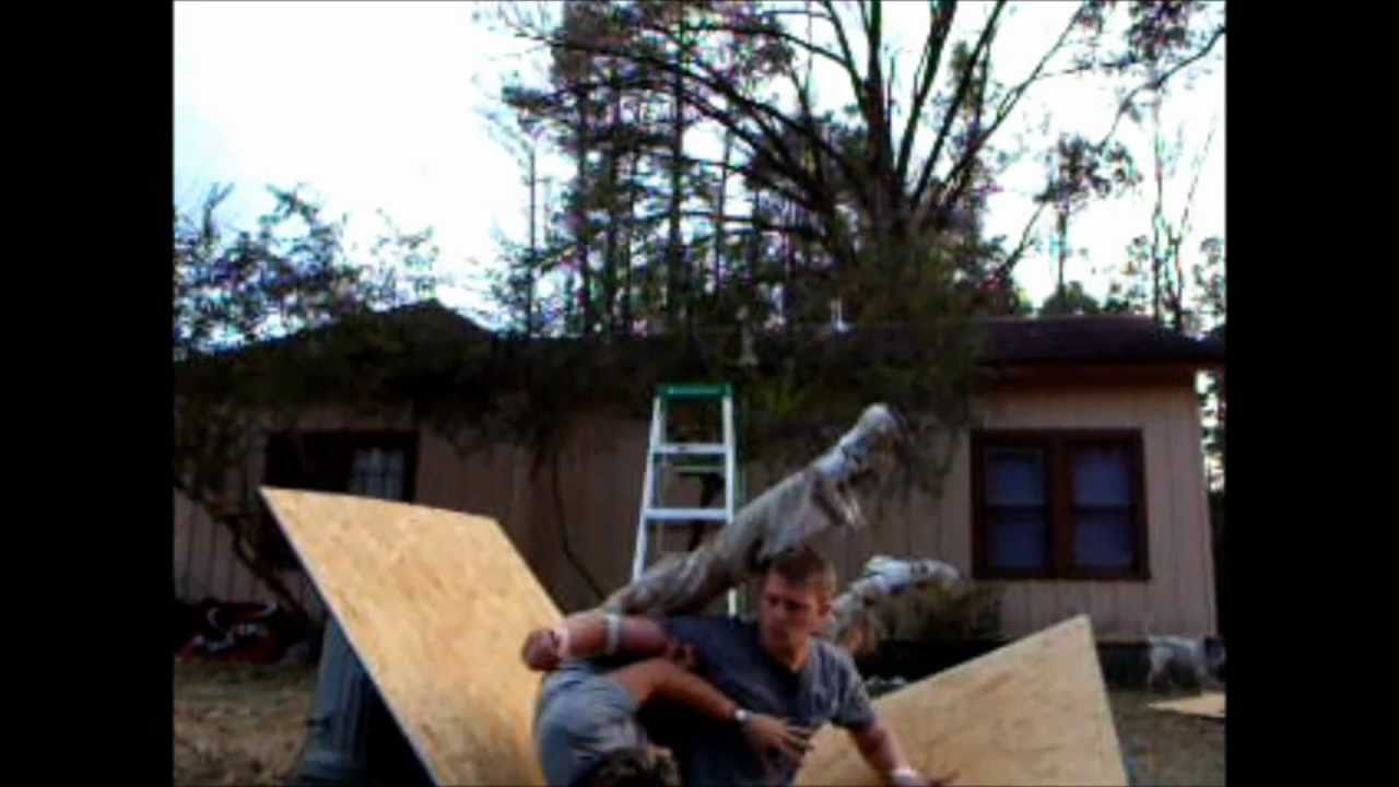 abw backyard wrestling with funny botch at the end
