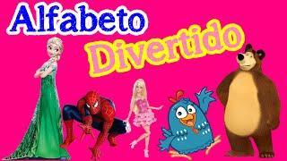 Alfabeto Divertido com Peppa Pig, Elsa Frozen, Homem Aranha, Princesas Disney em Portugues Brasil
