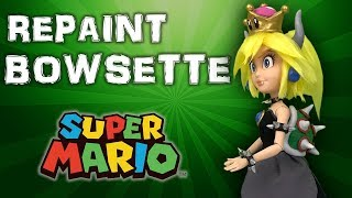 Custom BOWSETTE doll repaint TUTORIAL [ New Super Mario Bros U Deluxe ]