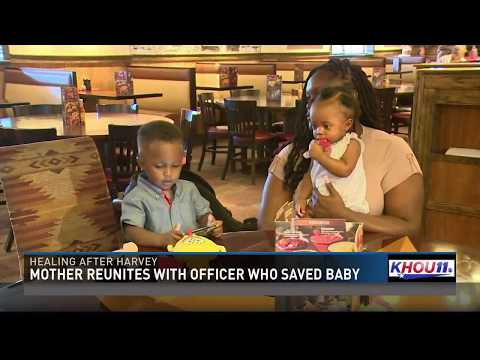 Mother reunites with officer who saved baby