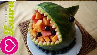 Como hacer un TIBURÓN de SANDIA kawaii - How to make a watermelon SHARK