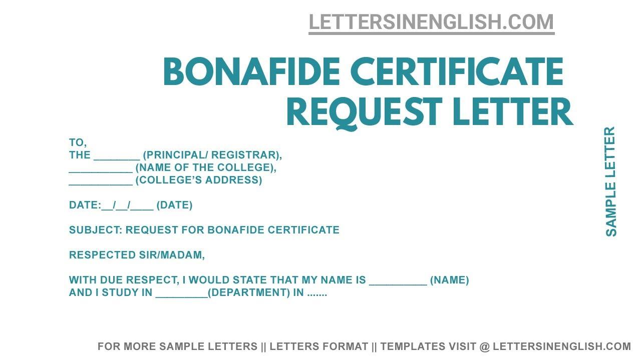 Request Letter For Bonafide Certificate
