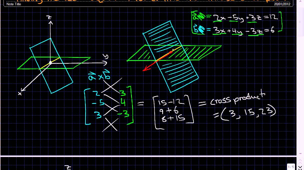 Finding the vector equation for a line that intersects two planes - Linear  Algebra -
