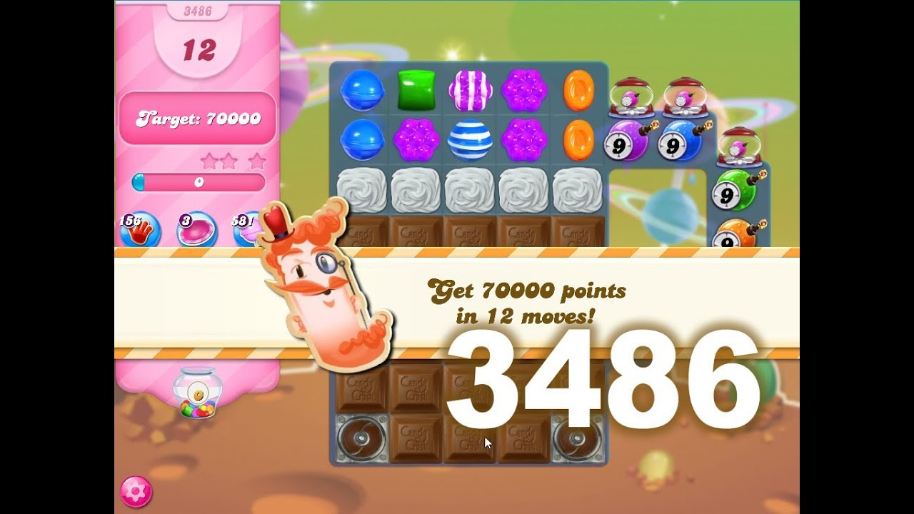 Candy Crush Saga Level 3486 (3 stars, No boosters)