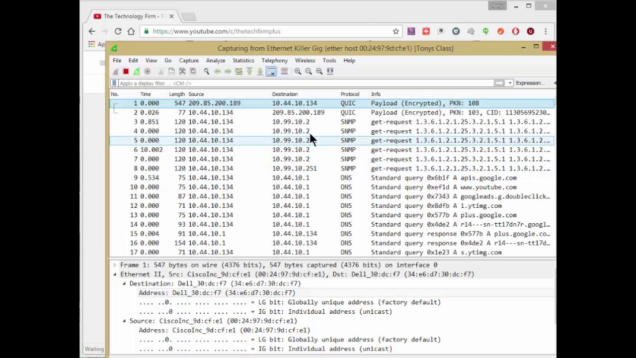 Capture remote traffic with Wireshark and a MAC filter