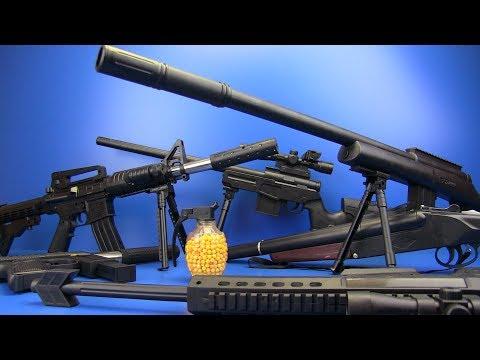 Guns Toys for Kids !!! Realistic Toy Guns - Military Guns- BOX OF TOYS !
