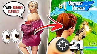 1 WIN = REMOVE ALL CLOTHING w/ GIRLFRIEND - Fortnite Challenge