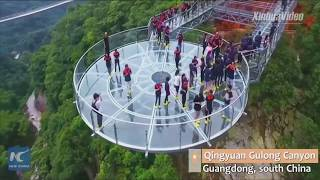UFO-shaped glass skywalk opens in Guangdong, China