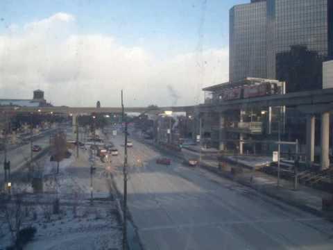 Downtown Detroit in winter