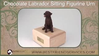 Chocolate Labrador Sitting  Figurine Urn