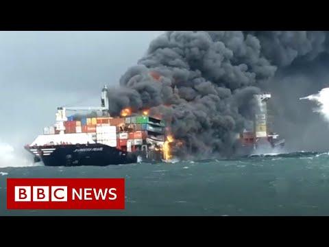 Sri Lanka navy rescue crew following chemical fire on cargo ship - BBC News
