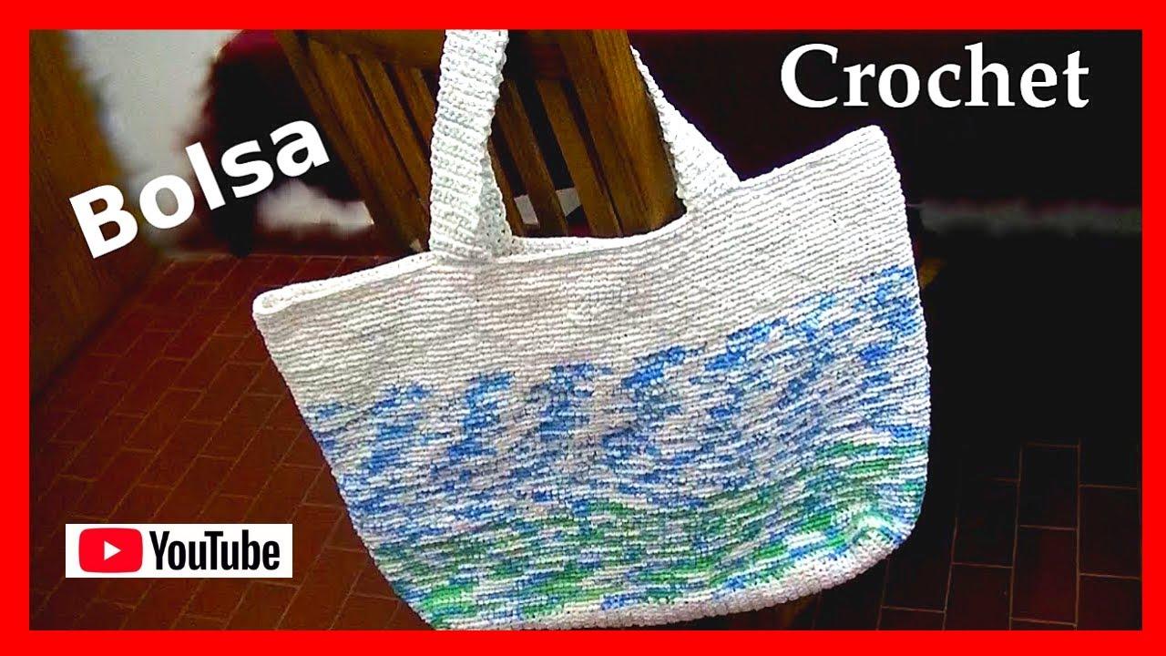 Bolsa para los mandados en tejido Crochet o ganchillo tutorial paso ...