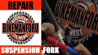 Suspension Fork Too Beat To Fix - Go Solid Steel - Old Trek with Answer Manitou - BikemanforU