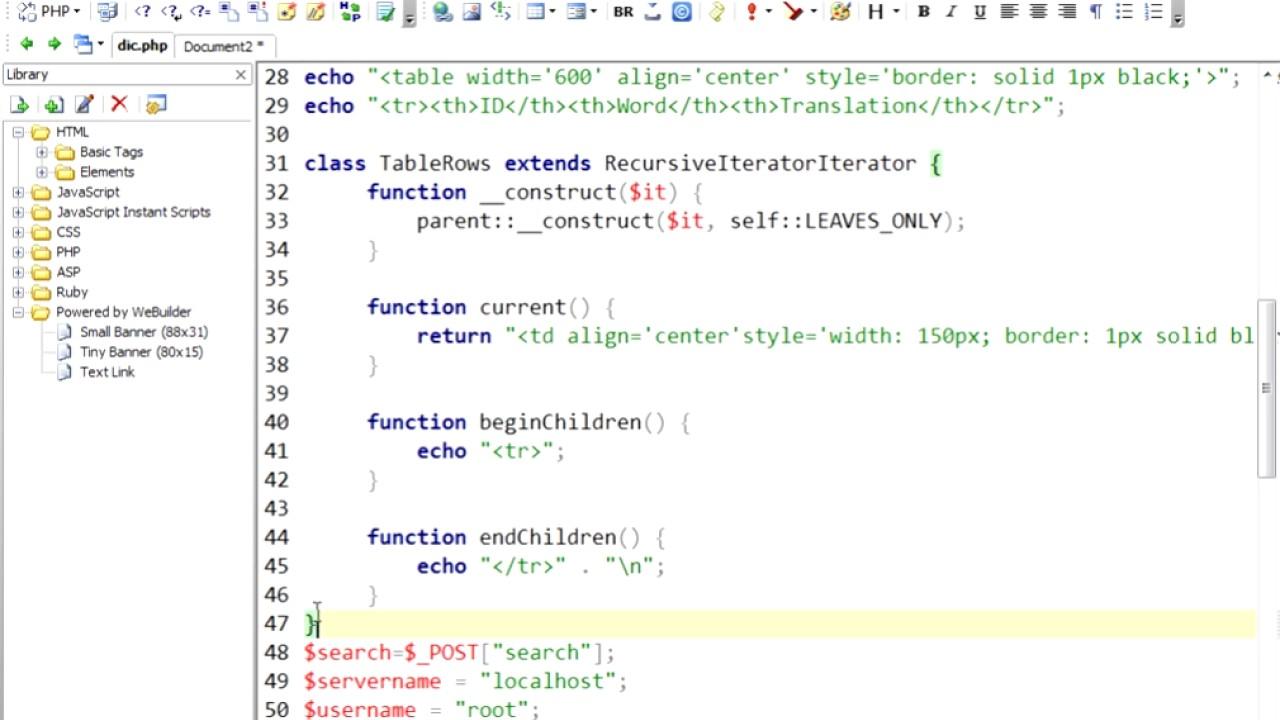 php mysql sample