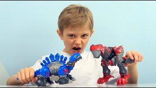 Трансформеры ДИНОЗАВРЫ Тиранозавр и Стегозавр для мальчиков    Играем с Даником