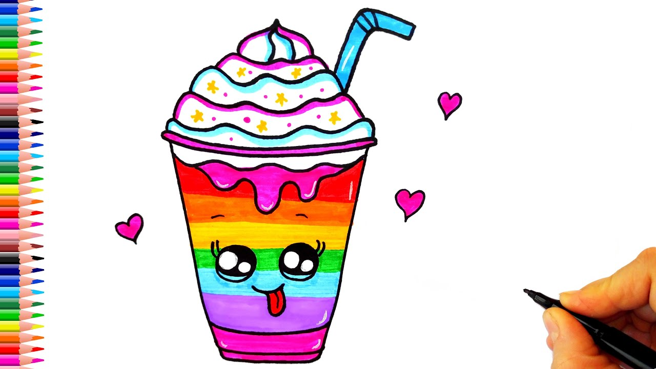 Rengarenk Sevimli İçecek Çizimi - Frappuccino Çizimi - Kolay Çizimler