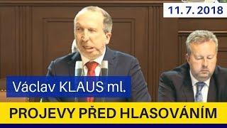 Perfektní projev V. Klause ml. ve kterém jednoznačně odmítá podporu Babišovi