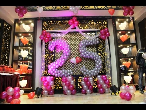 25th happy anniversary balloon decoration youtube for Anniversary decoration ideas home