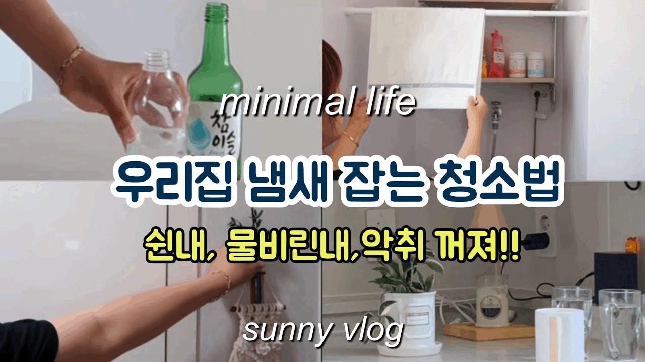 SUB) 미니멀 라이프 실천 vlog/ 우리집 냄새 잡는 방법/ 수건 쉰내, 컵 물비린내, 냉장고 냄새, 반찬통, 집냄새 잡는 방법/ 주부 일상 브이로그 / 정리 정돈 잘 된 집