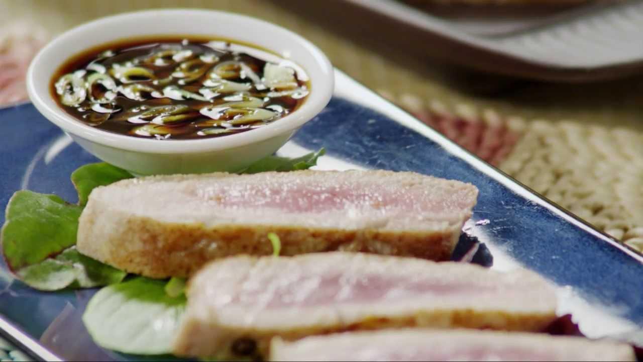 Fish recipes how to make seared ahi tuna steaks youtube for How to cook tuna fish