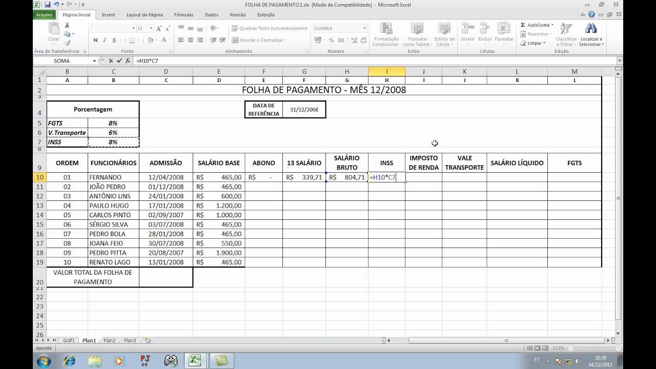 Excel Avançado Folha De Pagamento Avi Youtube
