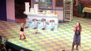 """Cate singing/dancing on stage with Sara Bareilles at """"Waitress"""" Cast Album Karaoke"""