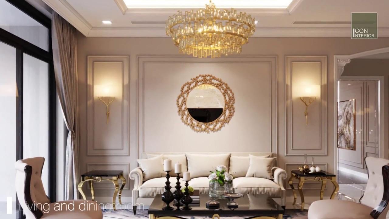 Nội thất căn hộ Vinhomes Central Park thiết kế theo phong cách Tân Cổ Điển