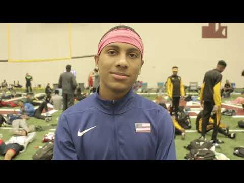 Eric Edwards After 60mH Texas A&M Indoor Classic Meet Record