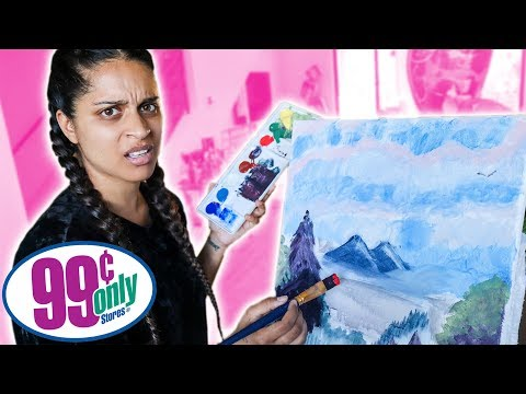 Following A Bob Ross Painting Tutorial Using Only Stuff From the 99 Cent Store thumbnail