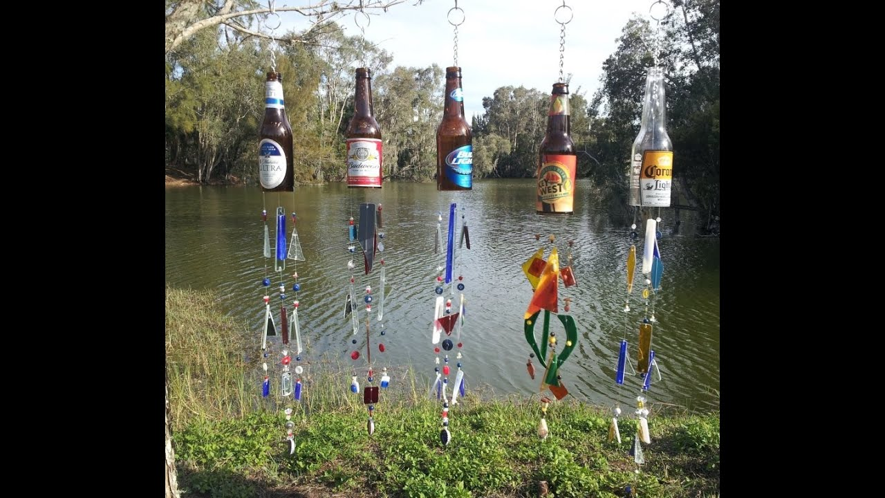 Beer bottle wind chimes youtube for Glasses made out of bottles