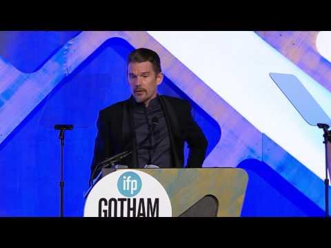 Ethan Hawke accepting a Gotham Tribute at the 2016 IFP Gotham Awards