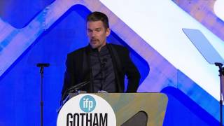 Ethan Hawke accepting a Gotham Tribute at the 2016 IFP Gotham Awards
