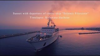 "4k short timelapse Sunset with depatute of cruise ship ""Salamis Filoxenia"""