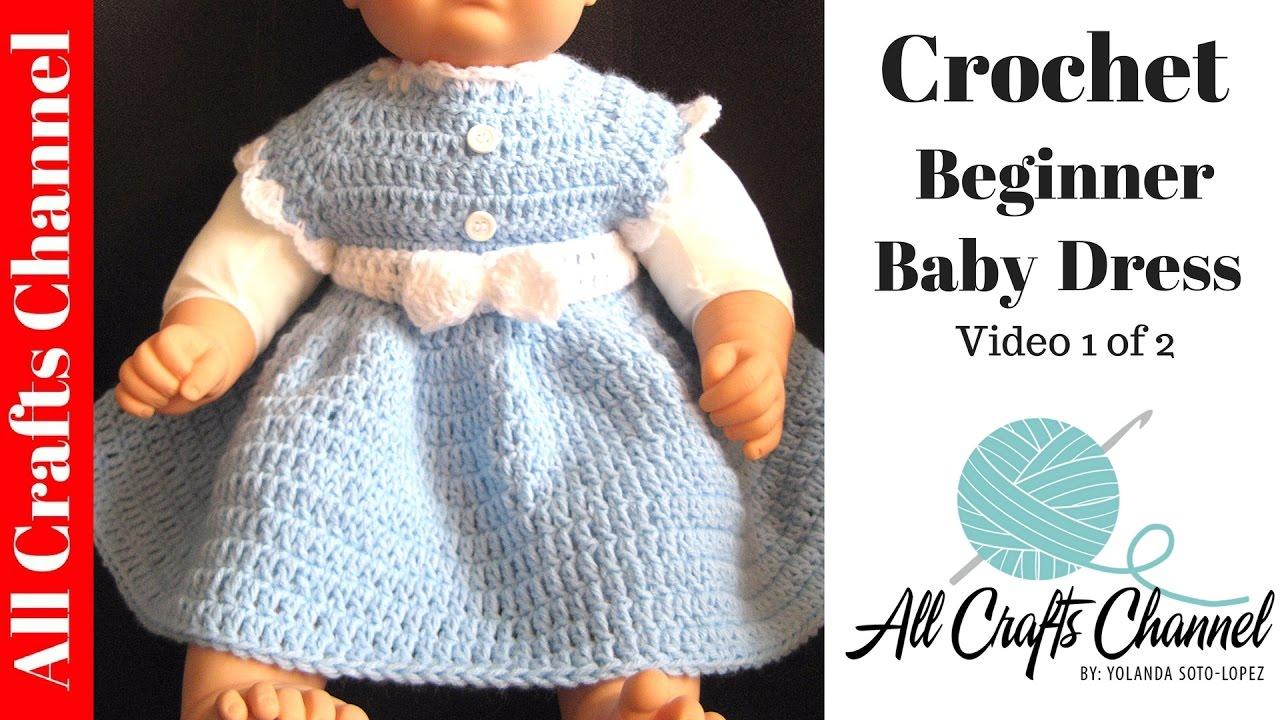 Easy Doll Crochet Patterns For Beginners : Easy to crochet Baby Dress -Beginner Level - YouTube