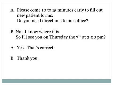 Making a Doctor's Appointment ESL Dialog Presentation
