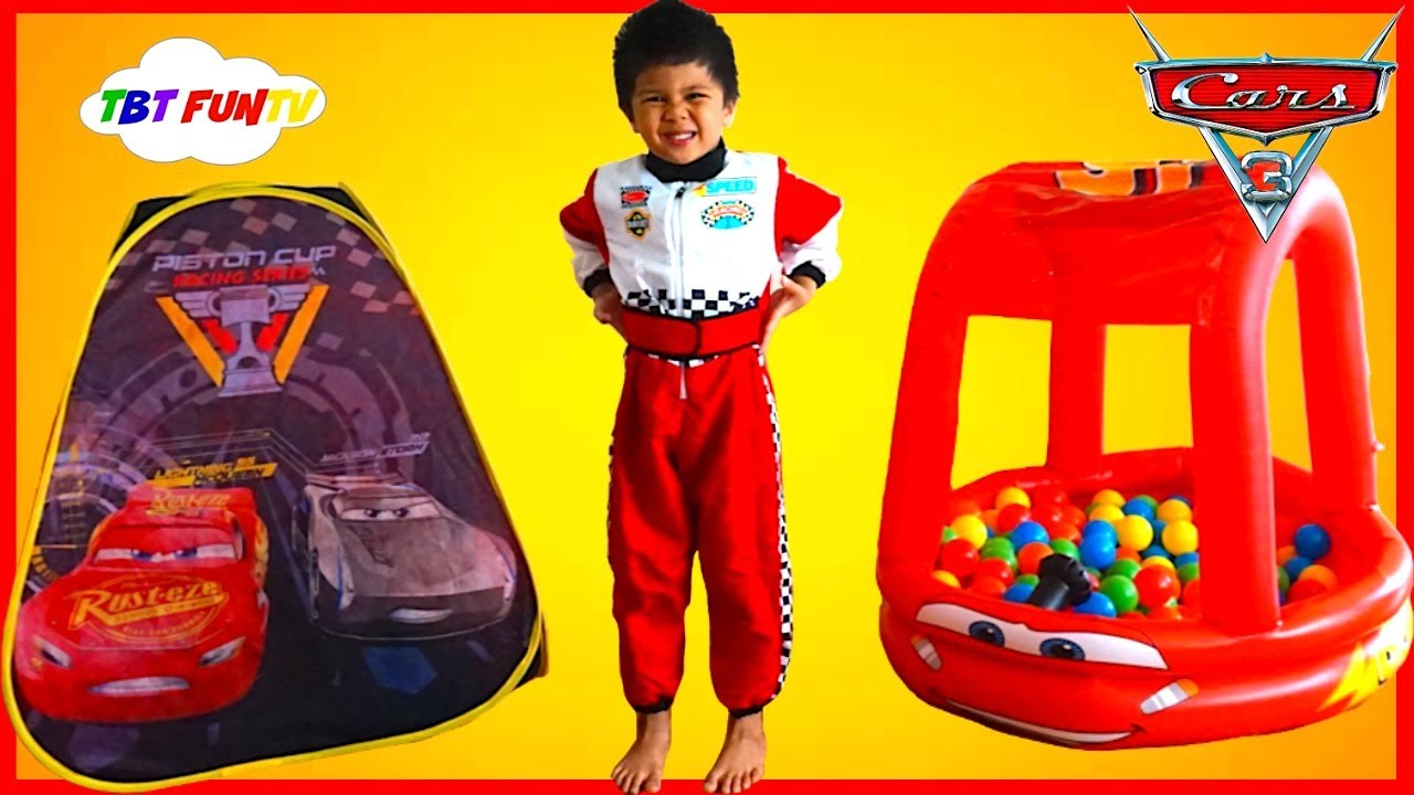Cars 3 Toys Lightning McQueen SURPRISE TOYS TENT Disney Cars Ball Pit Pool Kids Video GIANT EGG  sc 1 st  YouTube & Cars 3 Toys Lightning McQueen SURPRISE TOYS TENT Disney Cars Ball ...